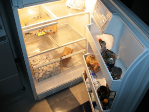 Inside the office refrigerator